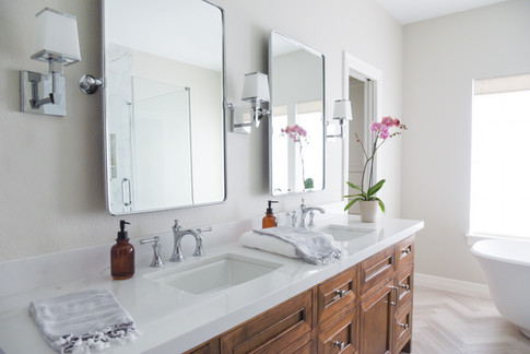 The Glenmont Project reveal - modern transitional master bathroom renovation in Houston by Nancy Lane Interiors