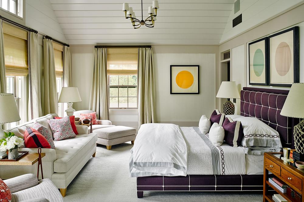 bedroom with custom drapery