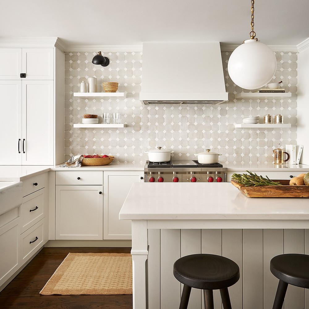 kitchen with handmade tile backsplash