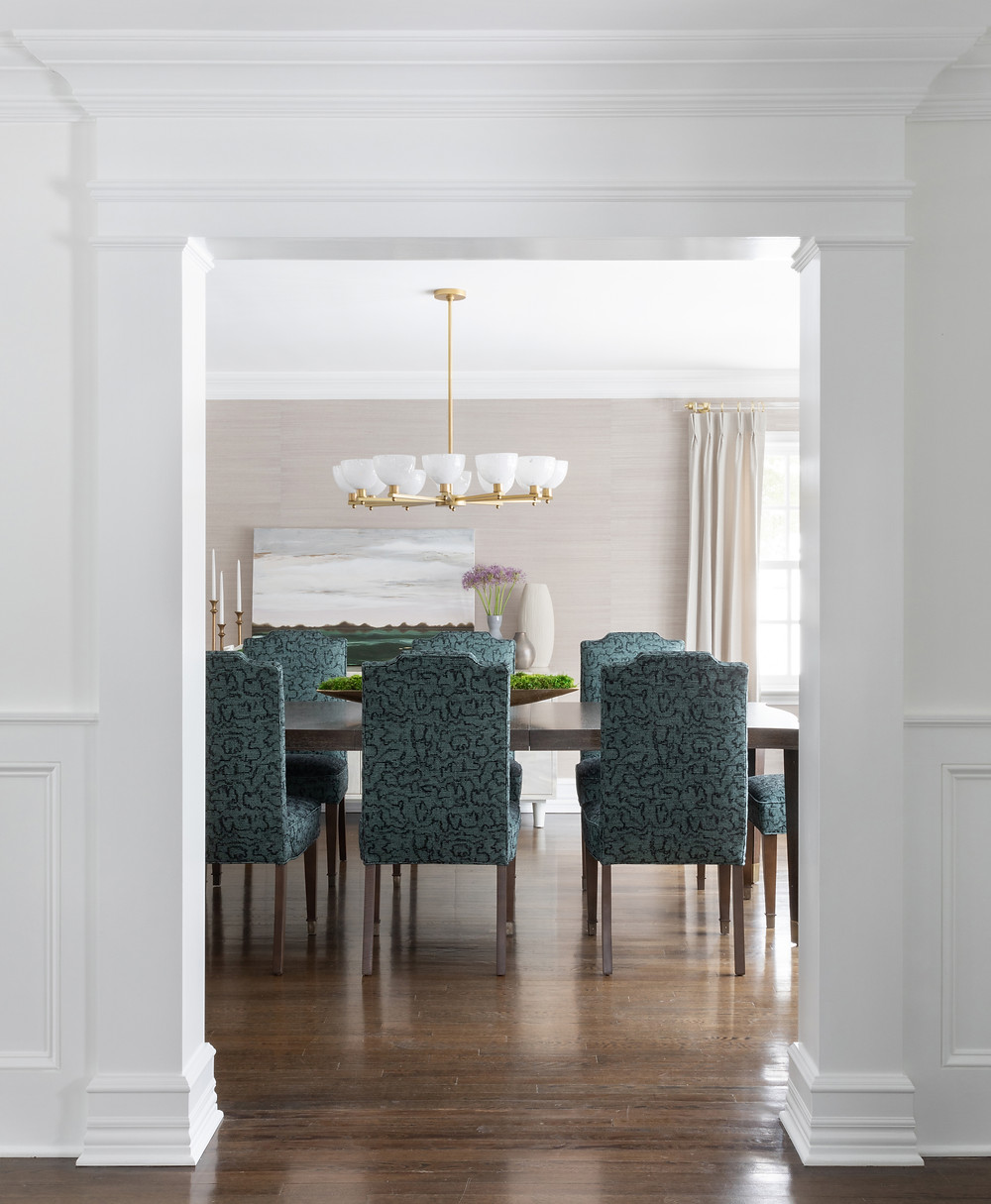 dining space with upholstered chairs