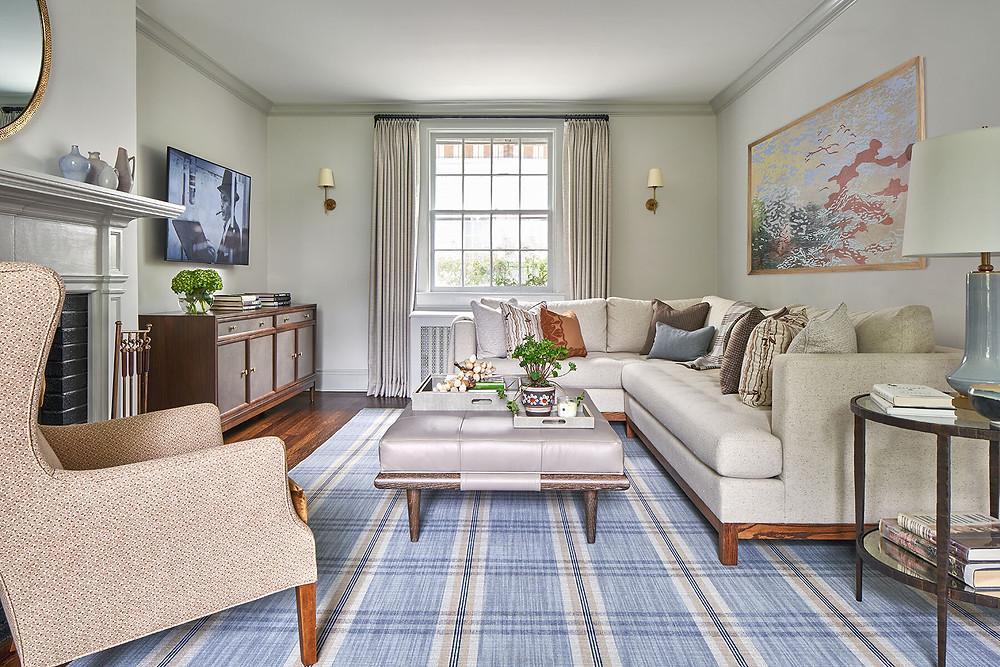 den with plaid carpet
