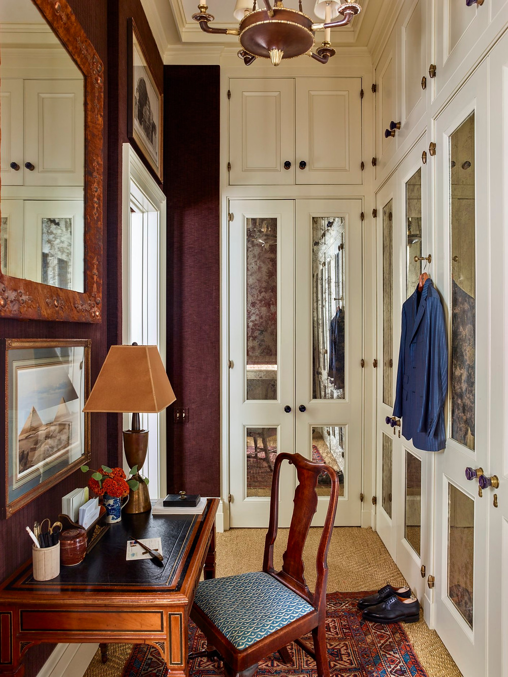 Cabinetry inset with antique mirrors