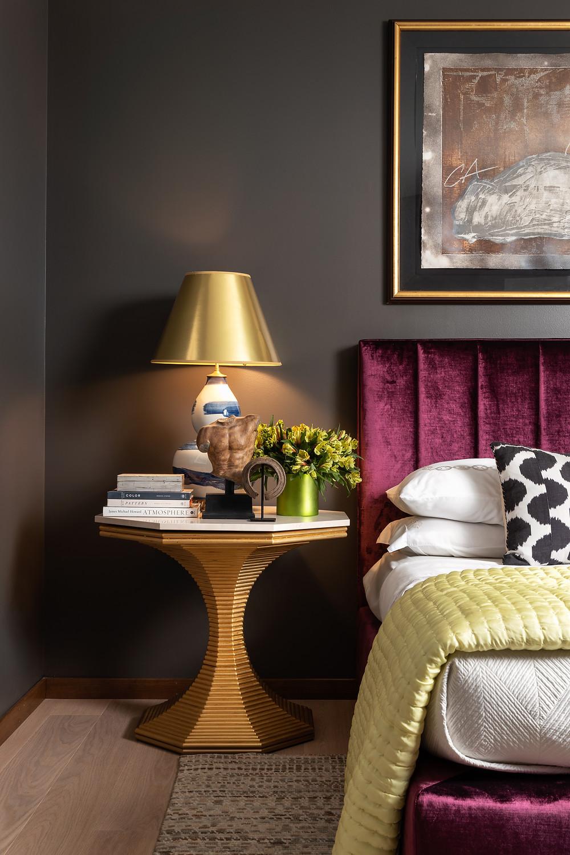 bedroom with velvet headboard by Gail Davis Designs