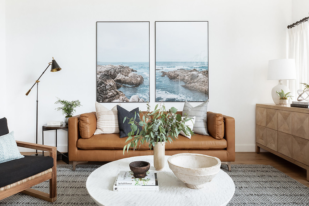 leather sofa with beach art