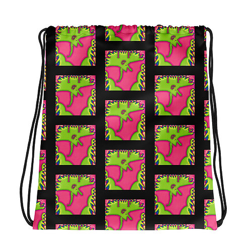 Hippie Boho Chic Drawstring bag What If? Bright Pink and Green Art