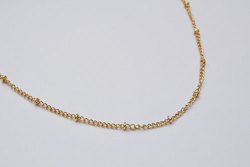 """Jasmin"" halskæde med små perler, forgyldt"