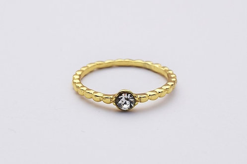 """""""Elena"""" ring med lille klar krystal, guldbelagt"""
