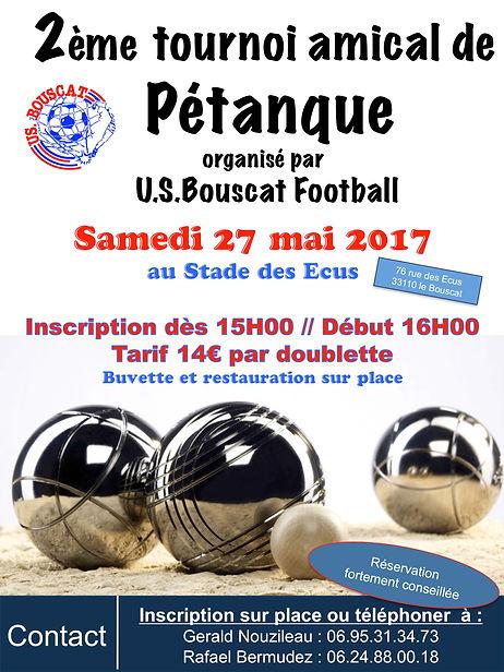 Affiche tournoi de pétanque du 27 mai 2017