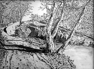 Welsh Canal Scene - drawing