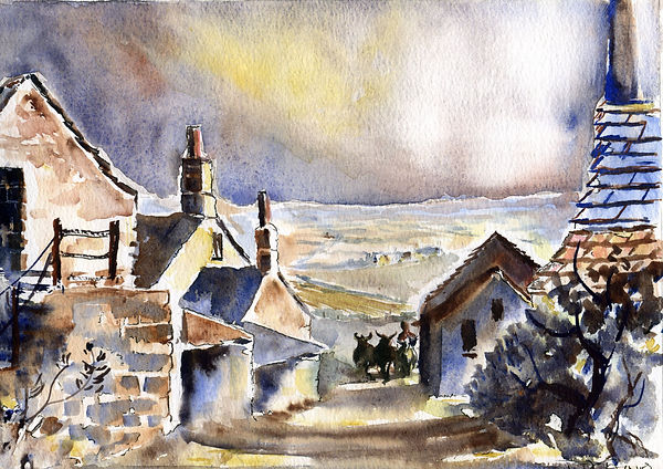 BACK IN TIME - Farm scene at St David's, Pembrokeshire. Watercolour painting by William Caines on Raymond Humphreys' BENYBONT website