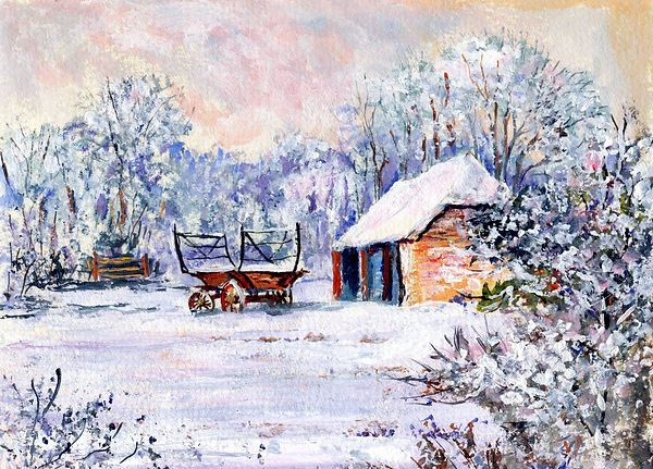 Snow at 'Newbarn', near Tolland, Somerset. Acrylic painting by William Caines on Raymond Humphreys' BENYBONT website