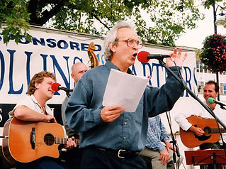 Alan Perry with The Amigos in the 'Poetry in the Square' Festival, Castle Square, Swansea , 1999