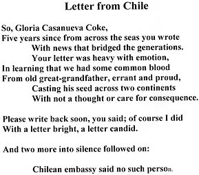 Letter from Chile poem in English