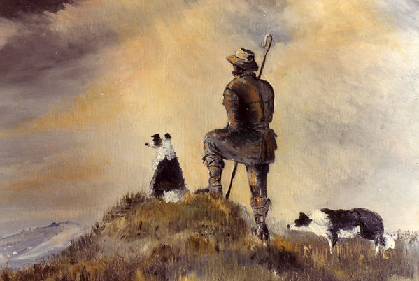 Shepherd and dogs - oil painting by William Caines on Benybont website of Raymond Humphreys