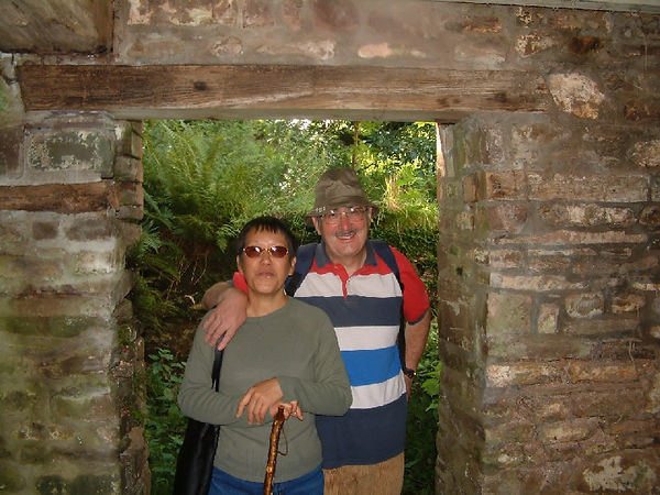 In the doorway that was of Pwll Uchaf