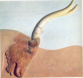The steatite rhyton in the shape of a bull's head is in the Little Palace of Knossos