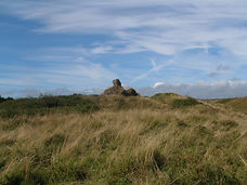 Distant view of Kenfig Castle remains