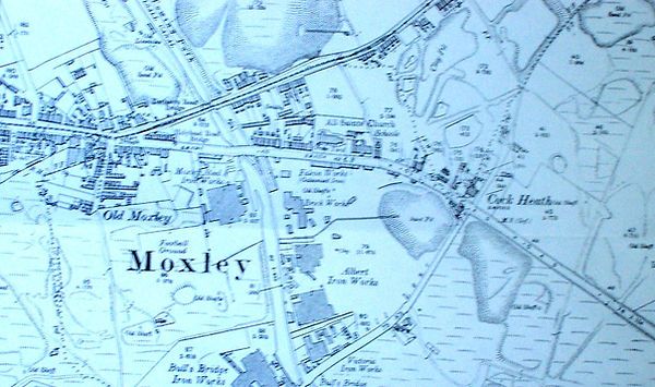 Old Moxley, Staffordshire, Early 20c Map