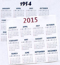 Calendars: 1954 and 2015