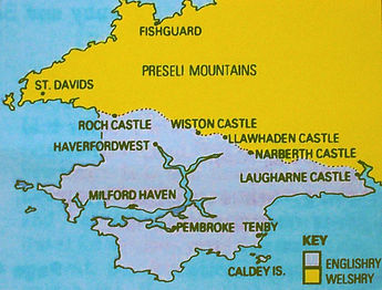 Map showing the Landsker Line in Pembrokeshire
