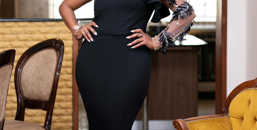 Black Cold Shoulder Ball Gown