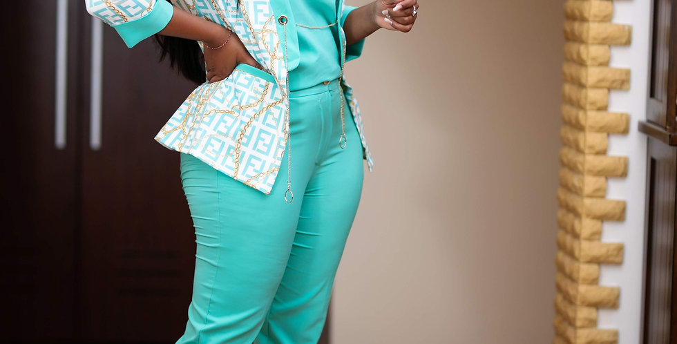 Turquoise Three Piece Suit