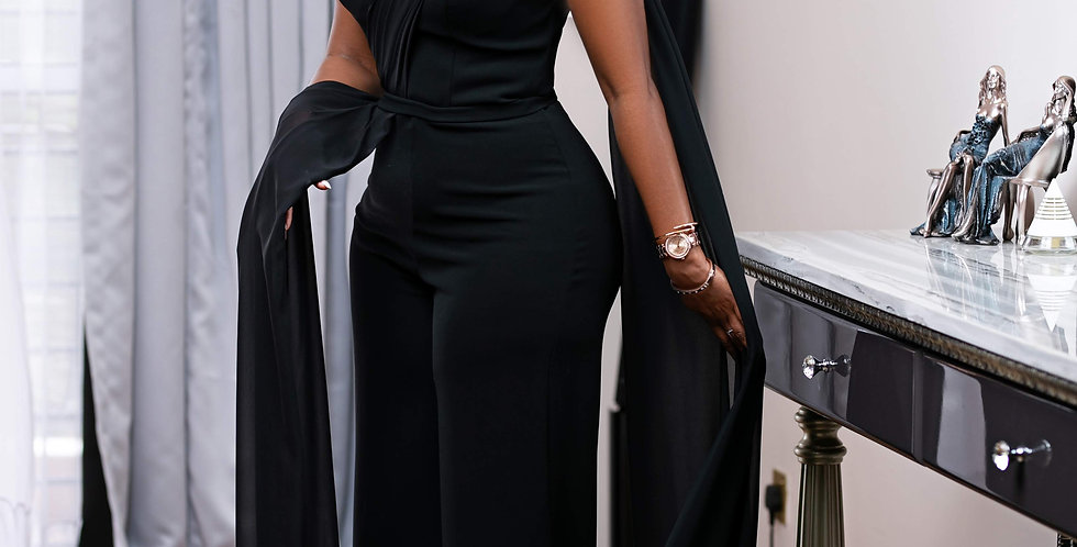 Black Jump Suit Ball Gown