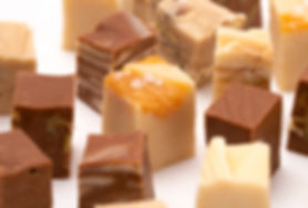 Six Different Flavors of Fudge on a Whit