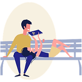 couple reading on park  bench