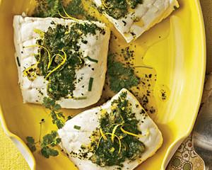 Poached Halibut with Lemon-Herb Sauce