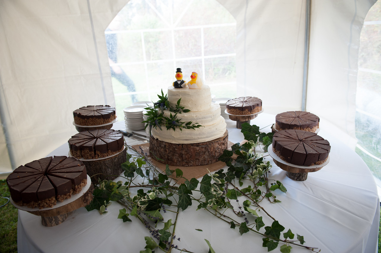 Thick Slab Wood Slices Cake Stands