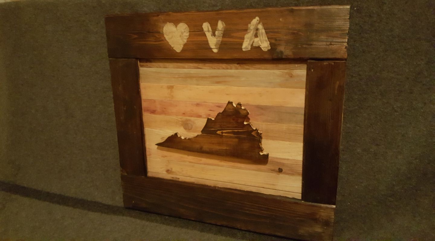 Reclaimed Wood Virginia Sign