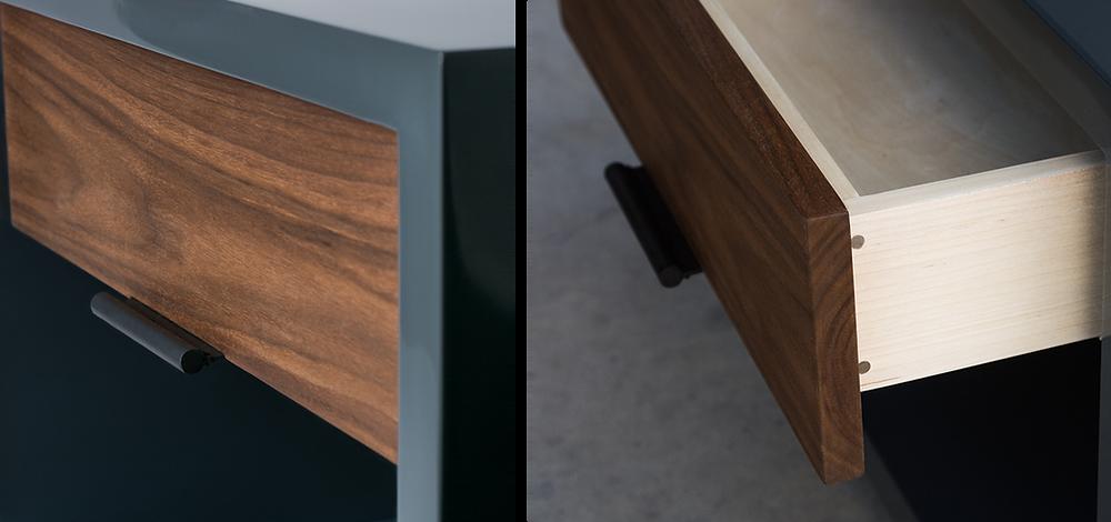 Modern nightstand drawer details