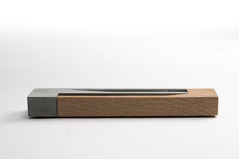 Concrete and white oak incense burner