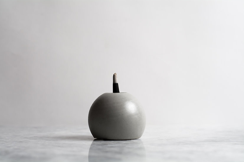Concrete ball incense burner