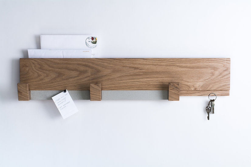Modern white oak wall rack