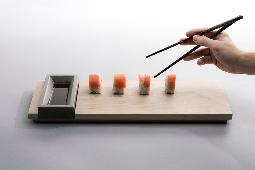 Maple wood and concrete sushi tray