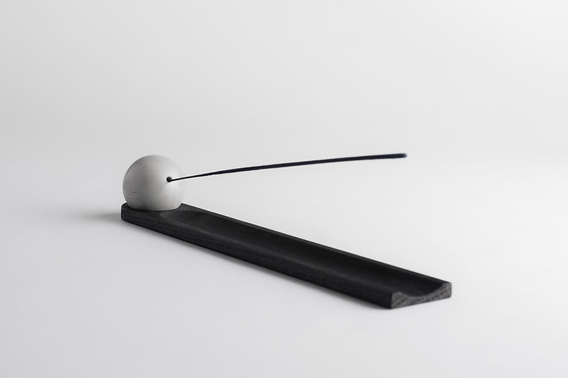 Ebony wood and concrete incense burner