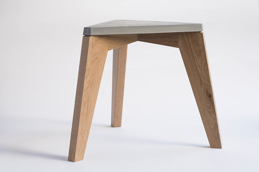 Solid oak and concrete accent table