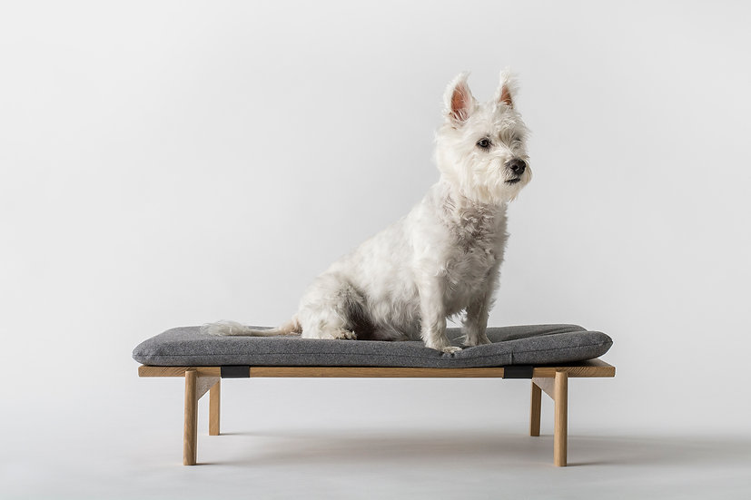 Walden white oak wood and wool cushion dog bed