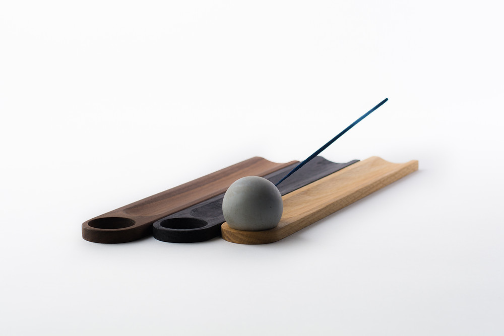 Modern incense burners - wood and concrete