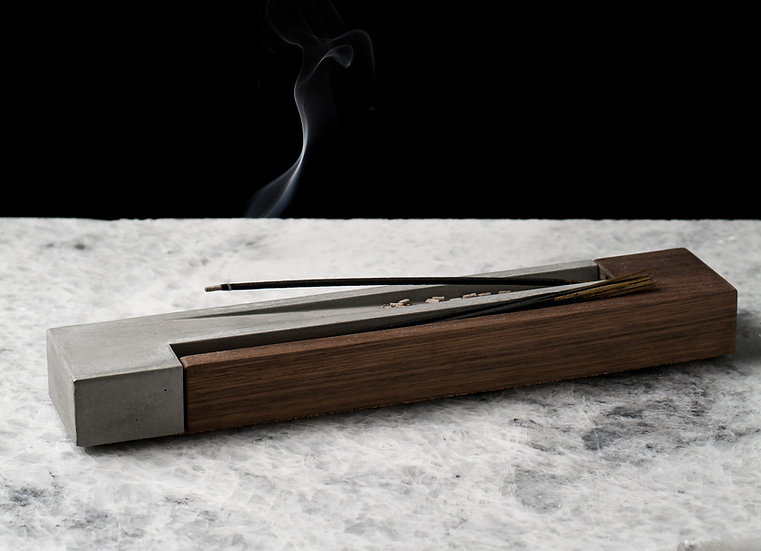 Concrete and wood incense burner