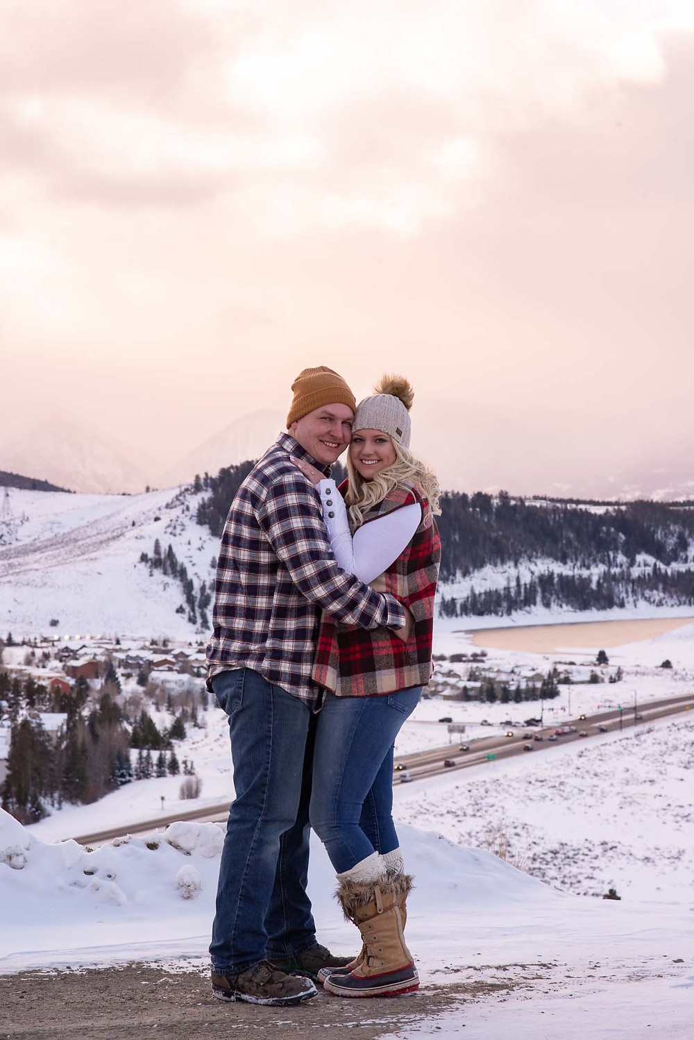 Snowy Mountain Sunset Engagement