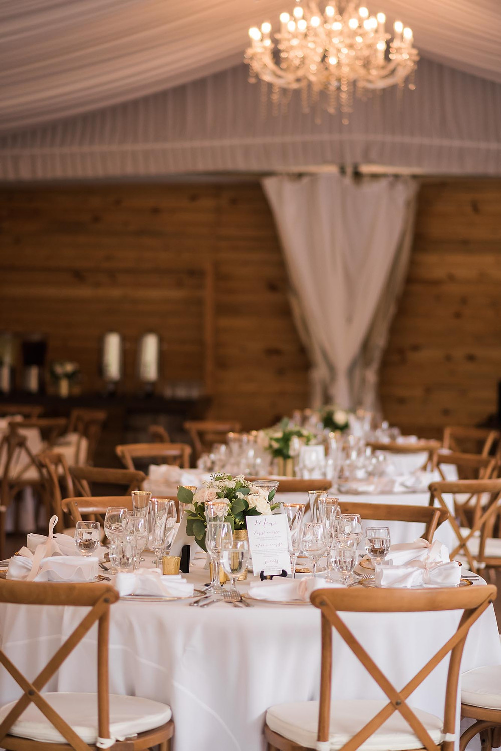 White and Gold Reception Decor in Tent at Wedgewood Boulder