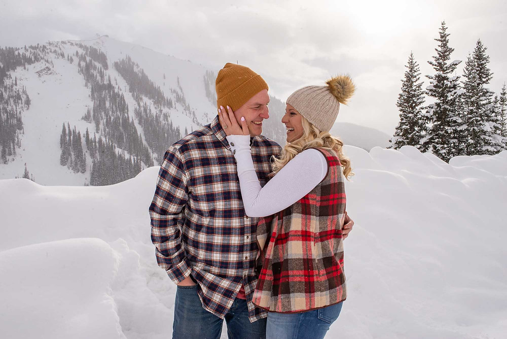 Plaid and Beanies Winter Engagement Outfits
