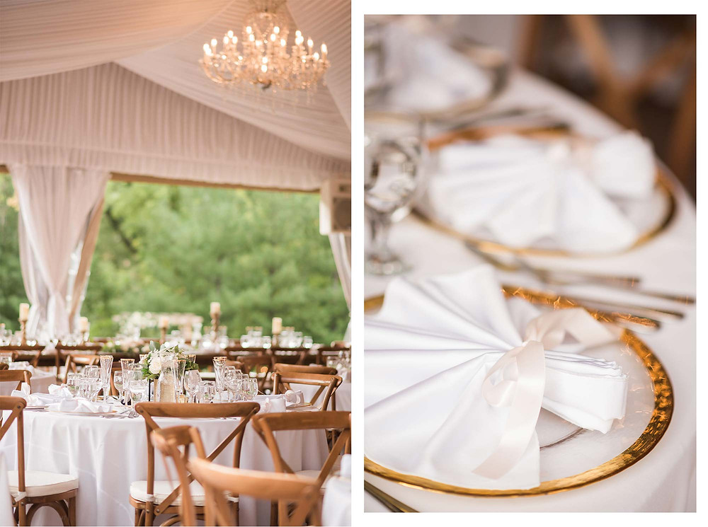 Gold Chargers and White Napkins with Pink Ribbon Reception Decor