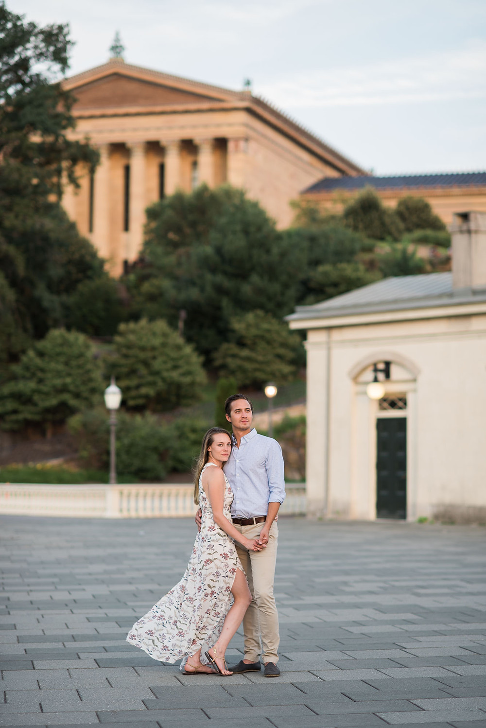 Floral Print Engagement Photo Dress with a Philly Couple