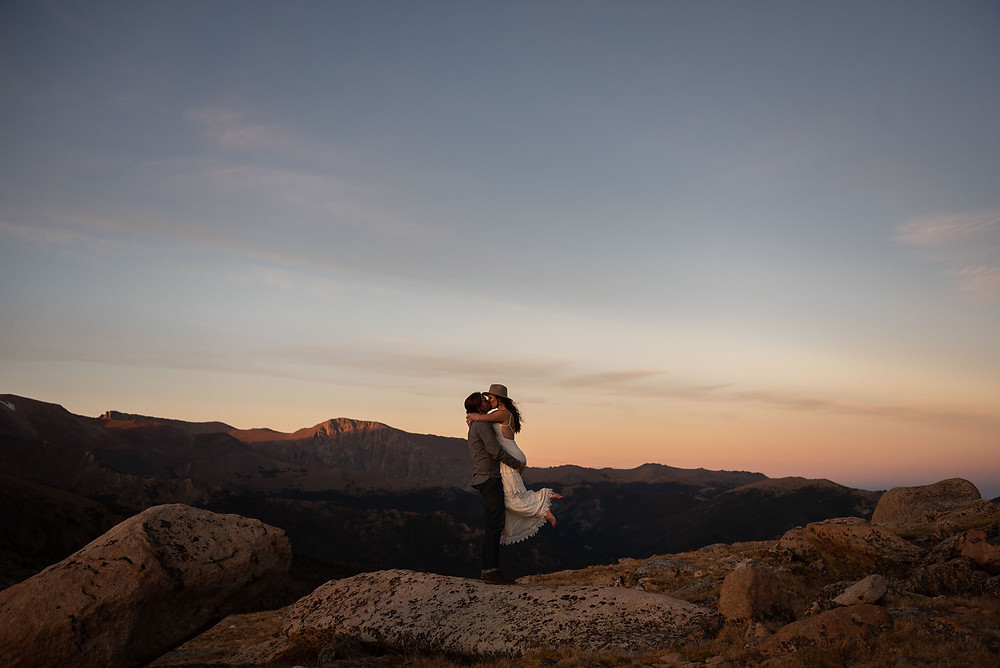 White Dress and Fedora Rocky Mountain National Park Engagement Session