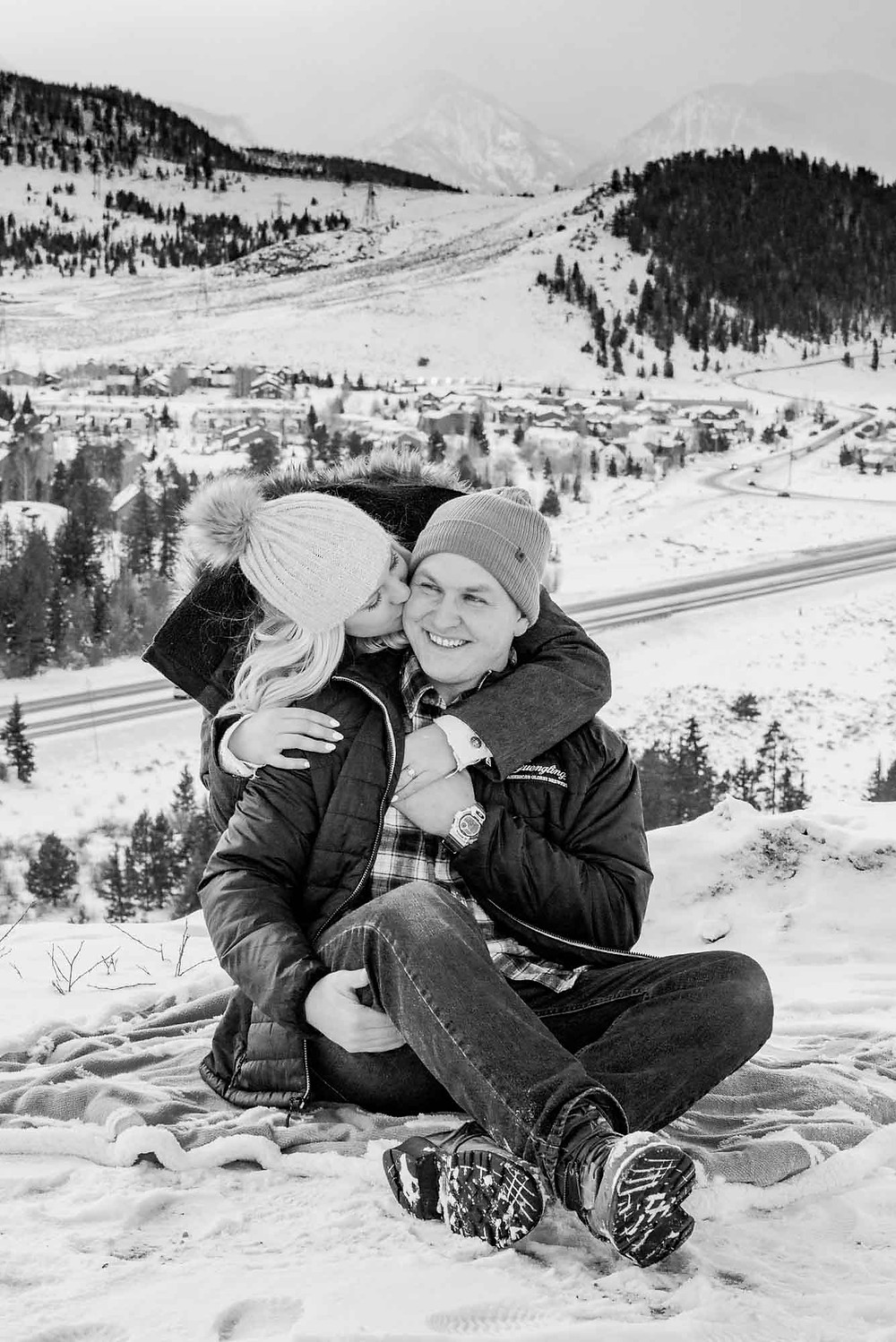 Winter Engagement Photos with Beanies
