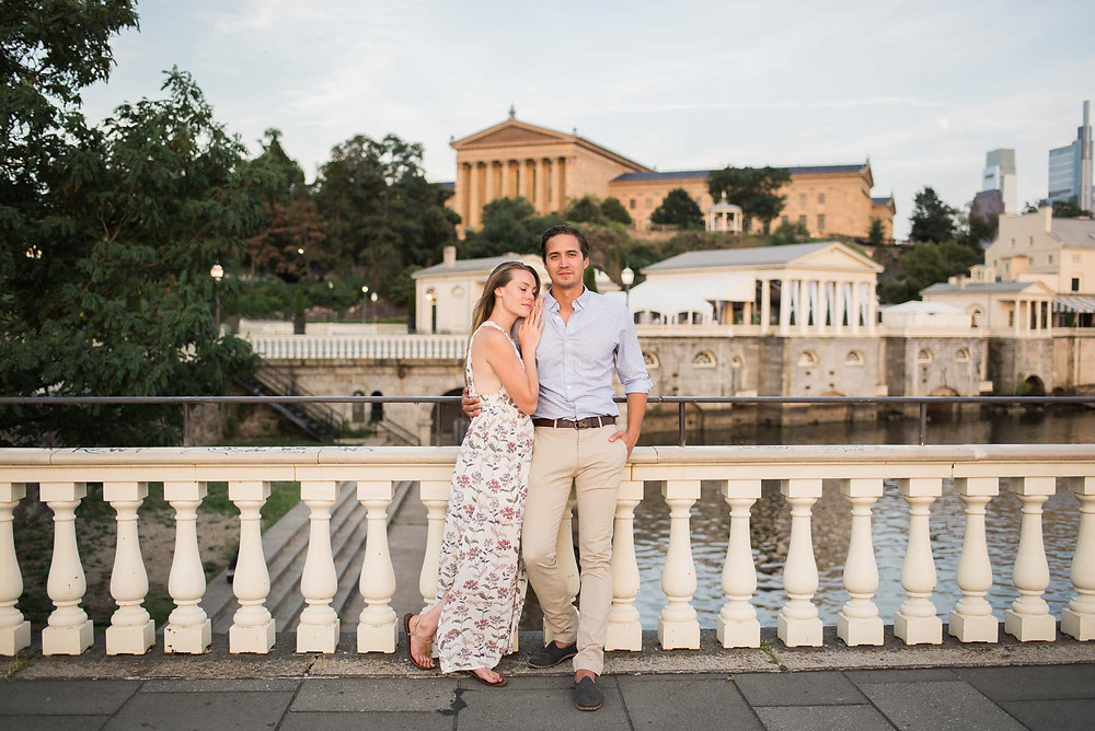 Floral Print Engagement Photo Dress with a Philadelphia Couple